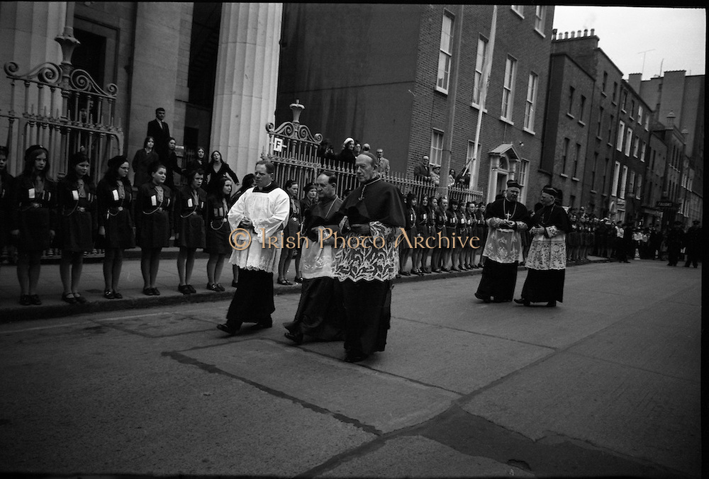 Archbishop Ryan Installed as Archbishop of Dublin..1972..27.02.1972..02.27.1972..27th February 1972..The installation of the Most Rev Dr Dermot Ryan as Archbishop of Dublin took place in The pro Cathedral,Dublin on Sunday 27th Feb 1972..Retired Archbishop of Dublin,John Charles McQuaid (3rd right) pictured on his way to the investiture.