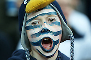 a young Spurs fan chants for his team. UEFA Champions league match, group E, Tottenham Hotspur v Bayer Leverkusen at Wembley Stadium in London on Wednesday 2nd November 2016.<br /> pic by John Patrick Fletcher, Andrew Orchard sports photography.