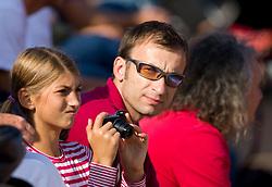 Spectators watching semifinal match between Aljaz Bedene (SLO) and Grega Zemlja (SLO) during day six of the ATP Challenger Tour BMW Ljubljana Open 2011, on September 24, 2011, in TC Ljubljana Siska, Slovenia. (Photo by Vid Ponikvar / Sportida)