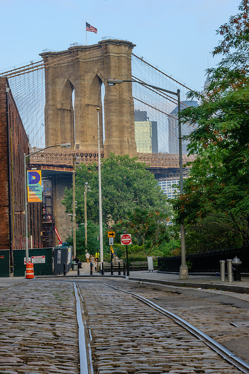 Dumbo, Brooklyn Bridge, designed by John Augustus Roebling, Connecting Brooklyn and Manhattan, New York City, NY