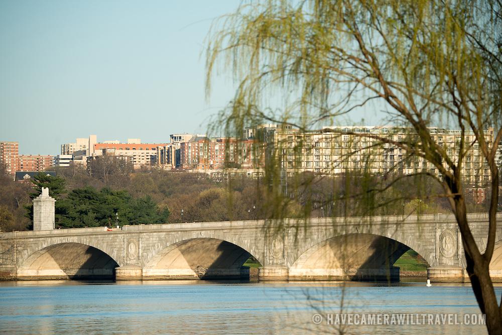 Historic Arlington Memorial Bridge spanning the Potomac River, looking from Washington DC across towards Rosslyn.