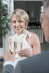 Man woman toasting married chic party champagne