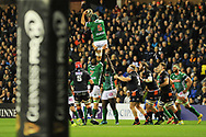 Dean Budd takes the lineout ball during the Guinness Pro 14 2018_19 match between Edinburgh Rugby and Benetton Treviso at Murrayfield Stadium, Edinburgh, Scotland on 28 September 2018.