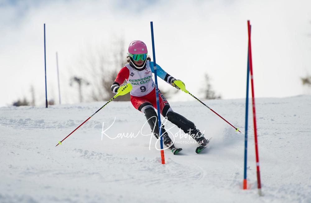 Paul Ladouceur Slalom U14 girls with the Gunstock Ski Club.  ©2017 Karen Bobotas Photographer