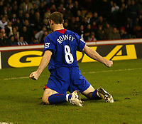 Photo: Aidan Ellis.<br /> Sheffield United v Manchester United. The Barclays Premiership. 18/11/2006.<br /> Manchester's Wayne Rooney celebrates his second and the winning goal