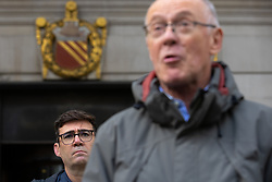 © Licensed to London News Pictures. 15/10/2020. Manchester, UK. Manchester Metro Mayor Andy Burnham and Sir Richard Leese at a press conference in front of Manchester Central Library in St Peter's Square , central Manchester , as negotiations continue regarding placing the city on a Tier 3 lockdown, closing pubs and limiting the ways in which households can mix, in order to reduce the spread of Coronavirus . Photo credit: Joel Goodman/LNP