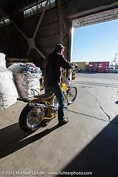 "Big Scott Stopnik with his 1949 HD Panhead ""CYCLE RAY"" at the local docks before the Mooneyes Yokohama Hot Rod & Custom Show. Yokohama, Japan. December 5, 2015.  Photography ©2015 Michael Lichter."