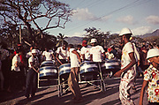 Band of carnival steel drummers in procession, Trinidad 1962