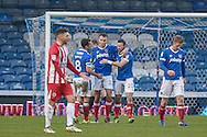 Portsmouth Players Celebrate after Portsmouth Midfielder, Kal Naismith (22) scores to make it 2-0 during the EFL Sky Bet League 2 match between Portsmouth and Accrington Stanley at Fratton Park, Portsmouth, England on 11 February 2017. Photo by Adam Rivers.