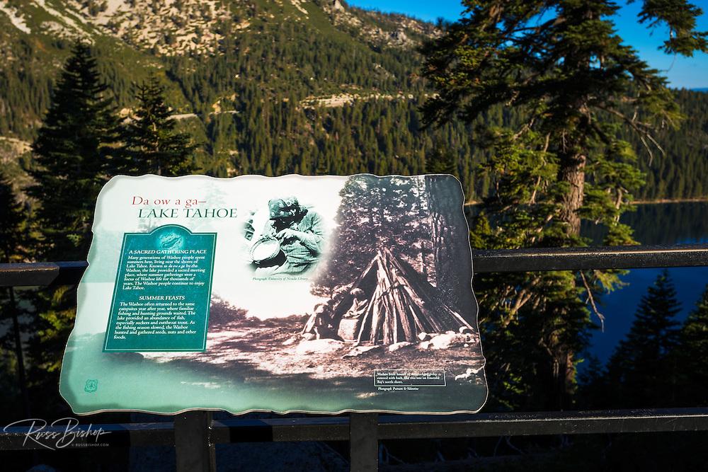 Native American Washoe interpretive sign, Emerald Bay State Park, Lake Tahoe, California USA
