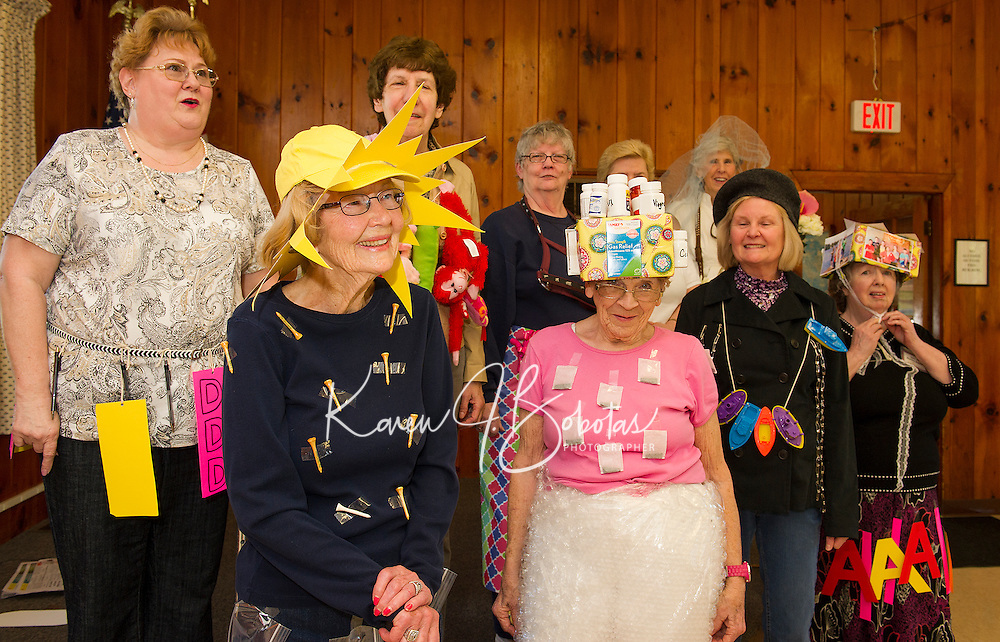 "The Friendship Club's ""Fashion Show"" with humor included a smart Tee shirt with baggy pants along with a pretty sunhat worn by Hazel Cook and Carole Veer sporting a wrap around skirt with a pretty loose Tea shirt and pill box hat at Leavitt Park Clubhouse on Wednesday afternoon.     (Karen Bobotas/for the Laconia Daily Sun)"
