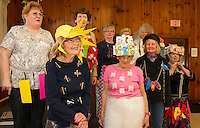 """The Friendship Club's """"Fashion Show"""" with humor included a smart Tee shirt with baggy pants along with a pretty sunhat worn by Hazel Cook and Carole Veer sporting a wrap around skirt with a pretty loose Tea shirt and pill box hat at Leavitt Park Clubhouse on Wednesday afternoon.     (Karen Bobotas/for the Laconia Daily Sun)"""