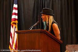 TV personality and metal fabricator Jessi Combs was the MC at the Sturgis Motorcycle Museum & Hall of Fame Induction Breakfast at the Lodge at Deadwood during the Sturgis Black Hills Motorcycle Rally. SD, USA. Wednesday, August 7, 2019. Photography ©2019 Michael Lichter.