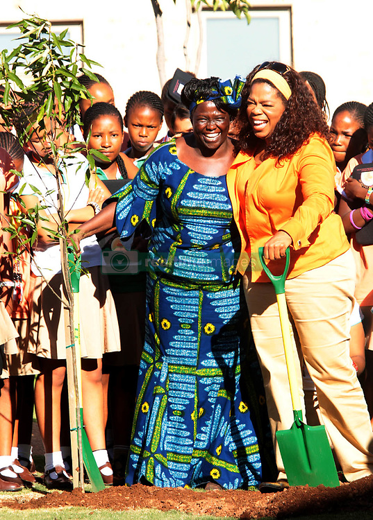 November 25, 2008 - American television host and media mogul Oprah Winfrey is seen with 2004 Nobel Peace Prize winner Dr. Wangari Maathai, L, at the Oprah Winfrey Leadership Academy for girls in Meyerton, south of Johannesburg, Tuesday, 25 November 2008. Winfrey and Maathai addressed learners at the school as part of a leadership conference to examine the role that the youth could play within their communities and the wider South African society to contribute positive change. A tree was planted as part of  the learners ' commitment to leadership and change. Picture: Werner Beukes/SAPA (Credit Image: © RealTime via ZUMA Wire)