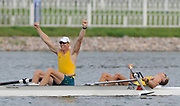 Shunyi, CHINA. AUS M2-, gold medalist, Bow, Drew GINN and Duncan FREE , at the 2008 Olympic Regatta, Shunyi Rowing Course.  Sat,.16.08.2008.  [Mandatory Credit: Peter SPURRIER, Intersport Images