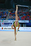 """Kudryavtseva Yana of Russia  during final at clubs in Pesaro World Cup at Adriatic Arena on  April 12, 2015, Italy. Yana """"The Queen"""" is a Russian gymnast born in Moscow on September  30,1997. Until her retirement in 2017 was one of atllete most awarded in the history of rhythmic gymnastics."""