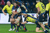 Dorin Manole (R) of Romania tries to stop Todd Clever (L) of USA during their  rugby test match between Romania and USA, on National Stadium Arc de Triomphe in Bucharest, November 8, 2014.  Romania lose the match against USA, final score 17-27.