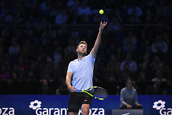 November 18, 2017 - London, England, United Kingdom - Jack Sock of the United States plays in his semi final match against Grigor Dimitrov of Bulgaria at the Nitto ATP World Tour Finals at O2 Arena on November 18, 2017 in London, England. (Credit Image: © Alberto Pezzali/NurPhoto via ZUMA Press)
