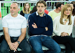 Father Matjaz Kopitar, Anze Kopitar and his wife Ines during friendly basketball match between National Teams of Slovenia and Brasil at Day 2 of Telemach Tournament on August 22, 2014 in Arena Stozice, Ljubljana, Slovenia. Photo by Vid Ponikvar / Sportida