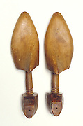 pair of wooden shoe molds
