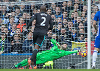 Football - 2016 / 2017 Premier League - Chelsea vs. WBA<br /> <br /> Ben Foster of West Bromwich Albion gets down quickly to his left at Stamford Bridge.<br /> <br /> COLORSPORT/DANIEL BEARHAM