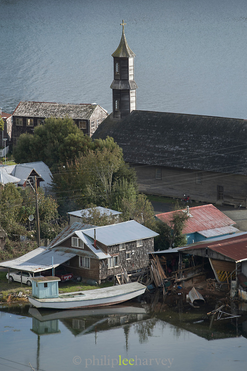 High angle view of San Juan Church and boats on sea, Chiloe Island, Chile