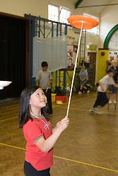 Circus skills workshop in school hall
