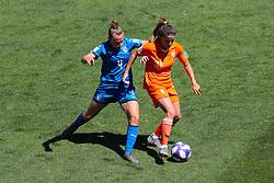 Italy's Aurora Galli (left) and Netherlands' Danielle van de Donk battle for the ball