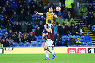 Bailey Wright of Bristol City jumps above Sam Vokes of Burnley. The Emirates FA cup 4th round match, Burnley v Bristol City at Turf Moor in Burnley, Lancs on Saturday 28th January 2017.<br /> pic by Chris Stading, Andrew Orchard Sports Photography.