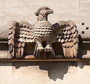Eagle Gargoyle below Magdalen Great Tower, part of Magdalen College, Oxford University, England.