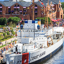 Baltimore, MD, USA - June 16, 2012: USCGC Taney, notable as the last ship floating that fought in the attack on Pearl Harbor, is now a museum ship in Inner Harbor in Baltimore, MD.