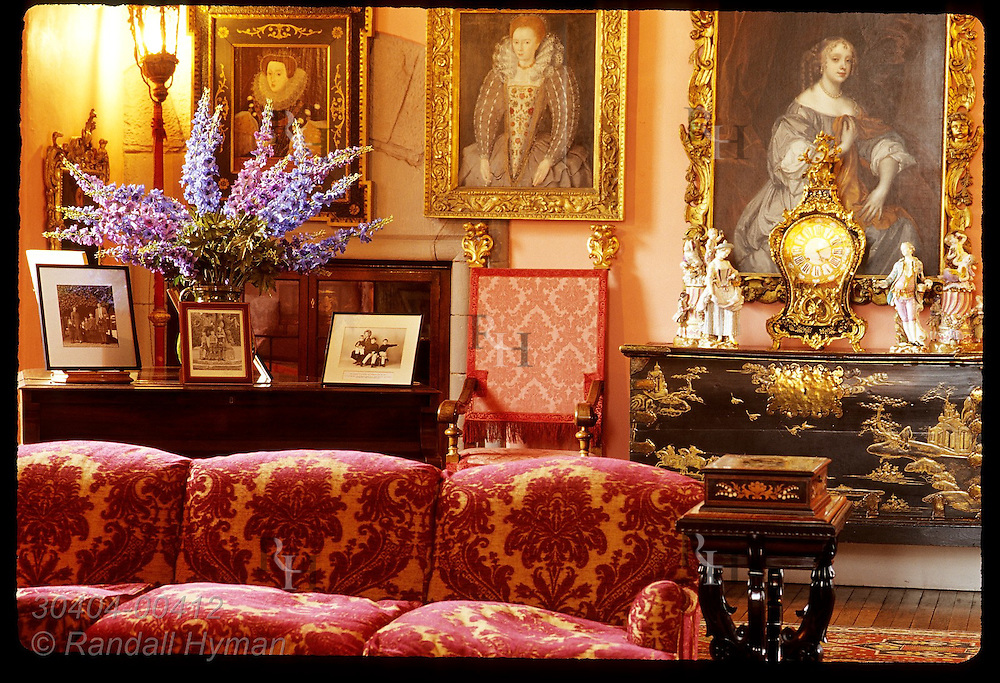 Portraits of Queen Elizabeth I & Lady Arbella Stuart (left & centr) in Drawing Room, remodeled in 17th cntry; Glamis Castle, Scotland