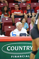 30 August 2011: ISU volleyball bench officials during an NCAA volleyball match between the Cougars of Southern Illinois Edwardsville and the Illinois State Redbirds at Redbird Arena in Normal Illinois.
