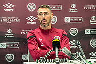 Michael Smith (#2) of Heart of Midlothian FC speaks to the press ahead of the Betfred Cup quarter-final match against Aberdeen, at Oriam Sports Performance Centre, Heriot Watt University, Edinburgh Scotland on 24 September 2019. Picture by Malcolm Mackenzie