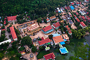 Aerial view of the village of the Suwon Village Center, Phnom Krom, south of Siem Reap, Cambodia.