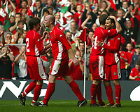 Photo: Scott Heavey<br />Wales V Azerbaijan. 29/03/03.<br />Ryan Giggs celebrates his first and Wales' fourth of the afternoon during this afternoons Euro 2004 Group 9 qualifying match at the Millenium stadium in Cardiff.