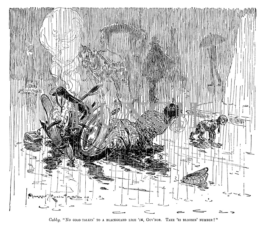"Cabby. ""No good talkin' to a blackguard like 'im, Guv'nor. Take 'is bloomin' number!"" (a driver crashes while avoiding a dog in pouring rain)"