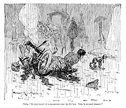 """Cabby. """"No good talkin' to a blackguard like 'im, Guv'nor. Take 'is bloomin' number!"""" (a driver crashes while avoiding a dog in pouring rain)"""
