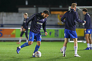 AFC Wimbledon midfielder Scott Wagstaff (7) and AFC Wimbledon striker Andy Barcham (17) warming up during the EFL Sky Bet League 1 match between AFC Wimbledon and Peterborough United at the Cherry Red Records Stadium, Kingston, England on 12 March 2019.