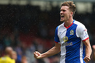 Sam Gallagher of Blackburn Rovers celebrates scoring the third goal of the game to make the score 2-1 during the EFL Sky Bet Championship match between Blackburn Rovers and Burton Albion at Ewood Park, Blackburn, England on 20 August 2016. Photo by Simon Brady.