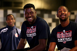 Daniel Edozie and Rohndell Goodwin of Bristol Flyers take part in the 2017/18 season launch event at Ashton Gate - Mandatory by-line: Robbie Stephenson/JMP - 11/09/2017 - BASKETBALL - Ashton Gate - Bristol, England - Bristol Flyers 2017/18 Season Launch