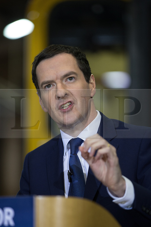 © Licensed to London News Pictures . FILE PICTURE DATED 20/04/2015 of GEORGE OSBORNE at a train shed in Crewe , UK , during the Conservative Party's election campaign as the government has today ( 25th June 2015 ) announced the cancellation of several major rail upgrade across the north of England . Photo credit : Joel Goodman/LNP