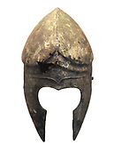 Bronze helmet of Corinthian type.  Made in Apulia about 600 BC.  There is an ancient repair over a hole.