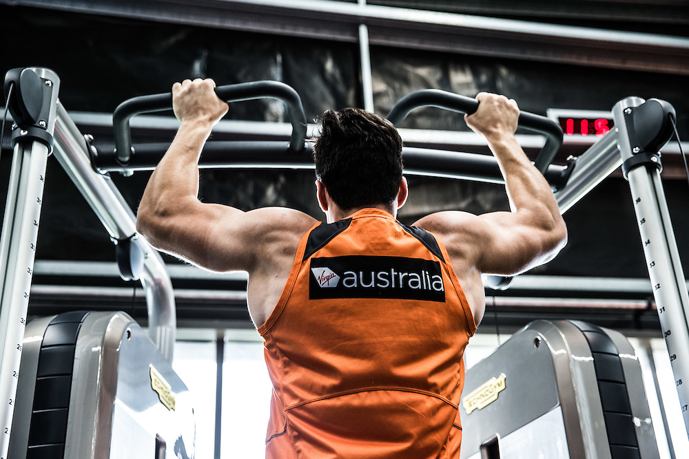 GIANTS AFL Feature with Jamie Smyth.  Pic shows Giants players in the purpose-built gym