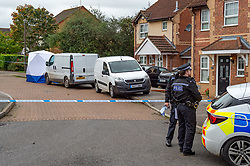 © Licensed to London News Pictures. 20/10/2019. Milton Keynes, UK. A forensic tent and police vehicles sit on Archford Croft as police investigate the double murder of two 17-year-old boys. Thames Valley Police and South Central Ambulance Service were called to a property in Archford Croft, Emerson Valley, Milton Keynes, just before midnight following reports of a stabbing having taken place. Two adult males have also been injured in the incident. Photo credit: Peter Manning/LNP