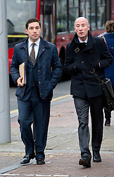 © London News Pictures. 19/11/2012. London, UK .  British government official Mario Pisani (left) with his solicitor (right) arriving at South Western magistrates court  in London on November 19, 2012. Mario Pisani, who has been suspended from his role as an aid to chancellor George Osborne, faced charges following a confrontation in a cocktail bar in Battersea. Photo credit: Ben Cawthra/LNP