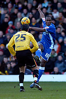 Photo: Alan Crowhurst.<br />Watford v Cardiff City. Coca Cola Championship. 25/02/2006. Cameron Jerome of Cardiff goes for goal.