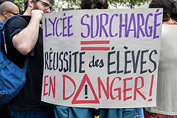 September 7, 2017 - Paris, Ile de France, France - Protesters hold a banner agaist ZEP 93 (zone of priority educational program) High School from the 93 County of Ile de France. Strike and Protest in front of the Regional bureau in Paris, supported by the deputy of Seine Saint Denis, Eric Coquerel. (Credit Image: © Julien Mattia/NurPhoto via ZUMA Press)