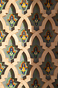 Painted wall in Hassan II Mosque in Casablanca, Morocco