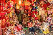 05 APRIL 2012 - HANOI, VIETNAM:   Vendors sell religious lanterns and paraphernalia in a market in Hanoi, the capital of Vietnam.   PHOTO BY JACK KURTZ